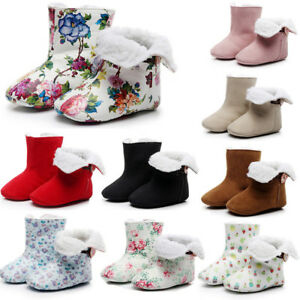 Toddler Infant Baby Girl Boy Floral Print Winter Warm Boots First Walkers Shoes