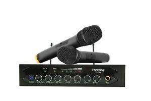 Pro Audio Wireless Microphone System UHF 2 Handheld Mic Karaoke Bluetooth For TV