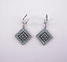 Catherine Popesco Silver Pacific Opal Swarovski Square Drop Earrings