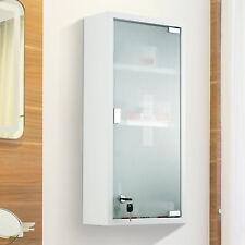 3- tier Wall Mount Medicine Cabinet Magnetic Door Lockable Frosted Glass Door