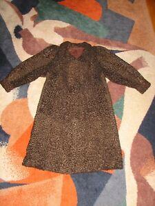 Women's Long Karakul/Astrakhan Vintage Fur Coat, Size M/L
