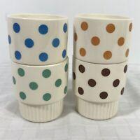 Polka Dot Ribbed Coffee Mug Stacking Tea Coin C Handle Set 4 USA Vintage