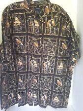 Harbour Bay Men's Hawaiian Shirt 2XL Black with Pictures inside Boxes Parrots