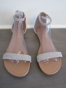 Women's Silver Rhinestone Two Strap Flat Sandals Shoes Size 9