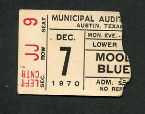 1970 Moody Blues Trapeze concert ticket stub Austin TX A Question Of Balance