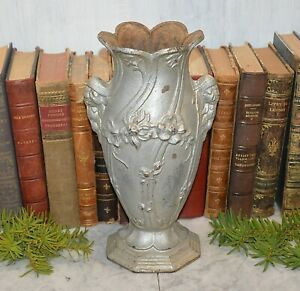 Antique French Cast Iron Floral Vase Planter Art Nouveau