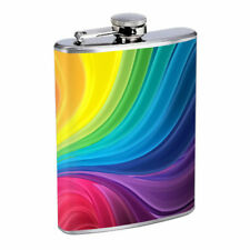 Groovy Rainbow Em2 Flask 8oz Stainless Steel Hip Drinking Whiskey