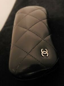 Chanel Hard Shell Glasses Eyeglasses Sunglasses only Case Faux Leather w/ Logo
