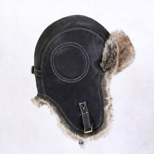 Men faux Leather Aviator Trapper Warm Vintage Winter Hat Cap Flying Fur