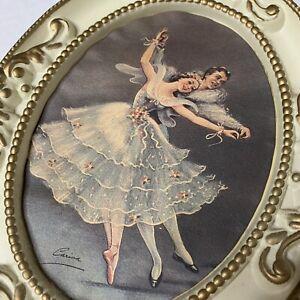 """Vintage Ballerina Framed Print Oval Frame 10.5"""""""