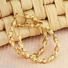 1Pair Fashion Spiral Gold Plated 0.9mm Earrings Hoops Big Round Earrings