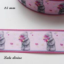 Ruban gros grain rose clair liseré rose Ourson/ Teddy gris tient Fleur de 25 mm