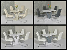 ELLIE High Gloss 120CM Dining Table & Chairs - CREAM, GREY & WHITE, WHITE