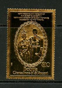 E312 St. Vincent/Bequia 1987  QEII Wedding anniversary GOLD FOIL (22k.)      MNH