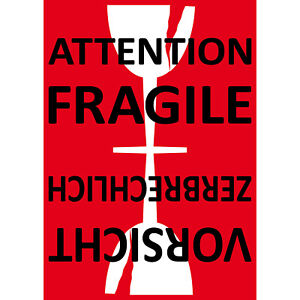 Aufkleber 15cm Sticker Attention Fragile labels glass handle with care not drop
