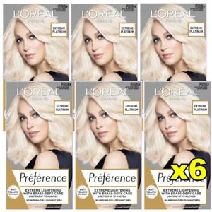 6x LOreal Preference Lightening Permanent Hair Colour - 8L Extreme Platinum