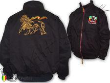 Rasta Reggae Winter Bomber Jacket Coat Soul Rebel Logo Embroidered Lion Of Judah