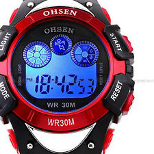 OHSEN Mens Light Digital Alarm Military Waterproof Sport Quartz Wrist Watch Red