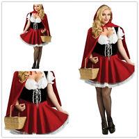 Mujer Sexy Caperucita Roja Disfraz De Cuento De Hadas Disfraz de Halloween S-5XL