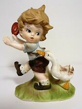 Vintage Flambro Collectors Choice Series Boy w/Lollipop & Duck Figurine