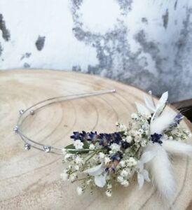 Vintagelook Blumen Haarreif Kopfschmuck Mille Fleurs Schleierkraut Lavendel