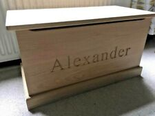 Handmade, Solid Oak, Personalised Toy Box with soft close lid