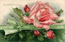 1906 Embossed Birthday Greetings Pink Roses Floral Flowers Postcard
