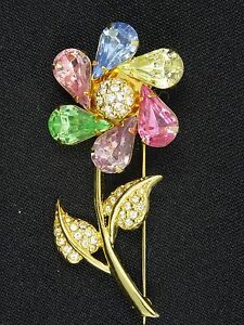 JOAN RIVERS MULTI COLORS STONES and CRYSTALS JEWELED SPINNING FLOWER BROOCH