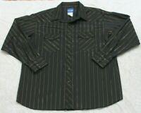 Wrangler Black & Gold Long Sleeve Pearl Snap Western Dress Shirt XXL Striped 2XL