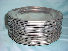 "Lot 15 Dinner Plate Queen Anne Armetale Wilton Pewter Metal Hollowware USA 10.5"""