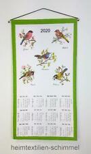 Textiler Wandkalender 2020 Textilkalender Stoffkalender Kalender VÖGEL 35x65cm