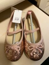 Nwt Toddler Girls Size 8 Baby Gap Shoes Champagne Gold Ballet Glitter