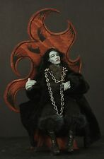 Halloween Goth Zombie King OOAK Handsculpted Polymer Clay Wood Throne