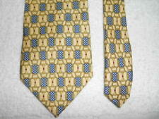 PAOLO GUCCI HORSE BIT GOLDEN  YELLOW SILK TIE HAND SEWN EXQUISITE!  ITALY.!