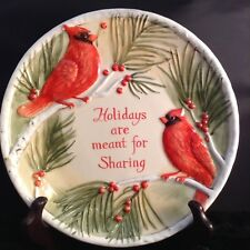 Fitz and Floyd Sentiment Tray Holidays are Meant for Sharing Cardinals Nib