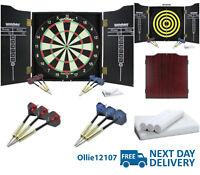 Brand New Winmau Dartboard, Cabinet and Darts. With Accessories Scoreboard Chalk