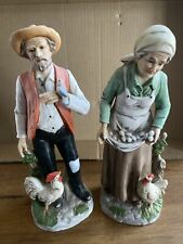 Vintage Old Man with Rooster and Blue Bird Old Woman with Chicken Homco #1434