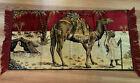 Vintage Velour Tapestry Camel & Man Wall Hanging