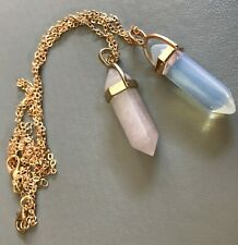 1 x  Rock crystal pendulum necklace on gilt chain with collar rose or natural