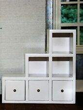 White Modern Shelf Unit With Drawers, Left side, Doll House Miniature, 1.12th