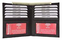 Black RFID Blocking Leather Hipster Bifold 2 ID Card European Wallet U.S. SELLER