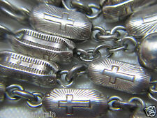 """† UNIQUE HEAVY ANTIQUE ETCHED SACRED HEART SOLID STERLING ROSARY 25"""" 55 GRAMS †"""