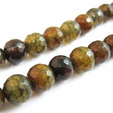 Olive Green Crackle Agate Beads - Faceted Round 10mm (Sold Per Strand)