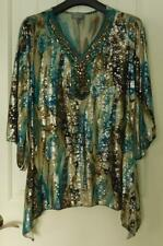 Essentials Womans Top Sz 0X Bejeweled Neckline Free Flowing Tunic Drape $4.50 SH