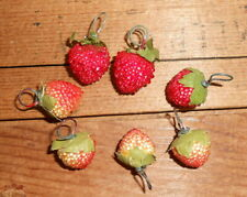 Vintage 7 Mini Strawberry Fruit Ornaments # I