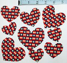 Patriotic Fabric HEARTS Flag USA Lot of 30 Appliques Americana 1990 Traditions