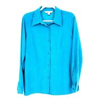 Vintage Casual Corner Button Down Long Sleeve Shirt Blouse Turquoise Medium Size