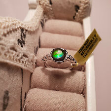 Stunning AA Canadian Ammolite & Zircon ring in Platinum over Sterling silver L