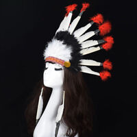 New Adult Native American Red Indian Big Chief Tribal Headdress Feather Hat ZXCV