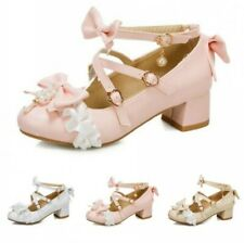 Women Lolita Bowknot Cosplay Cross Strap Chunky Heel Mary Janes Shoes 41/42/43 D